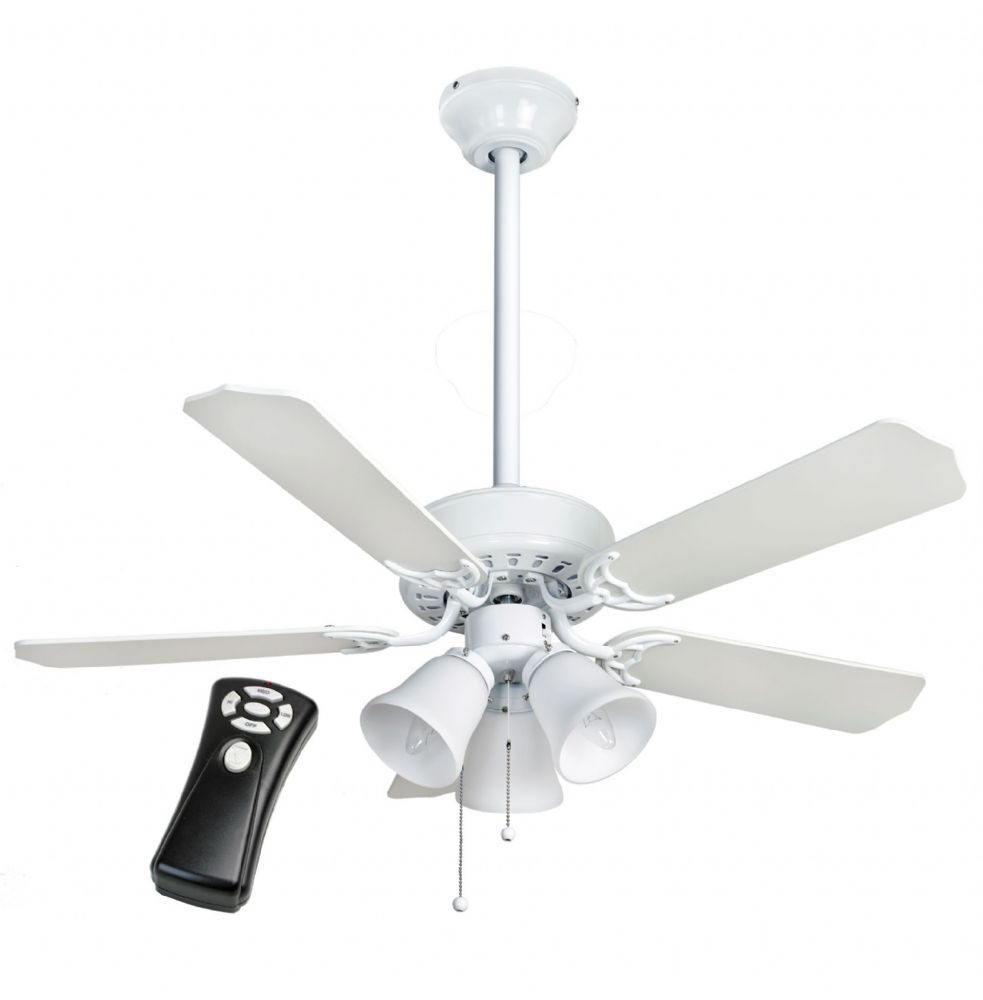 "Fantasia Las Vegas 42"" White Ceiling Fan + Light + 12"" Rod + Remote 500704"